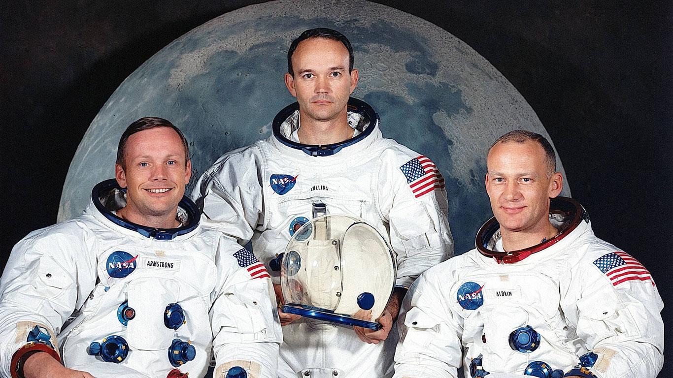 21. Juli 1969: Neil Armstrong, Michael Collins und Edwin Aldrin