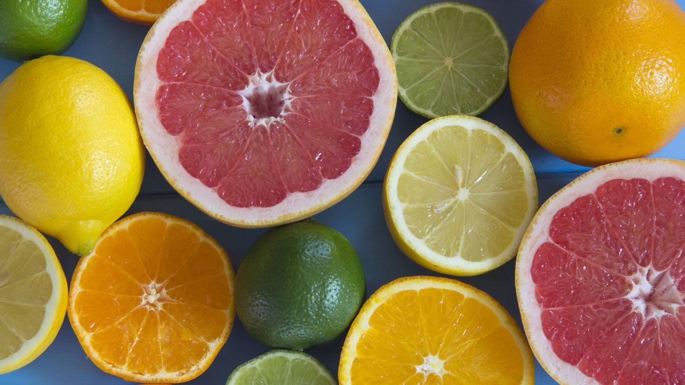Zitrone, Orange, Limette, Mandarine, Grapefruit, Banane