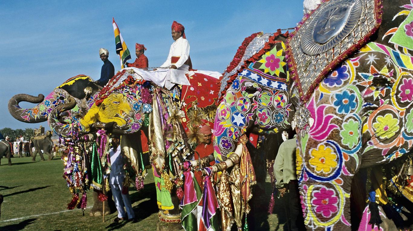 Prächtig geschmückte Elefanten