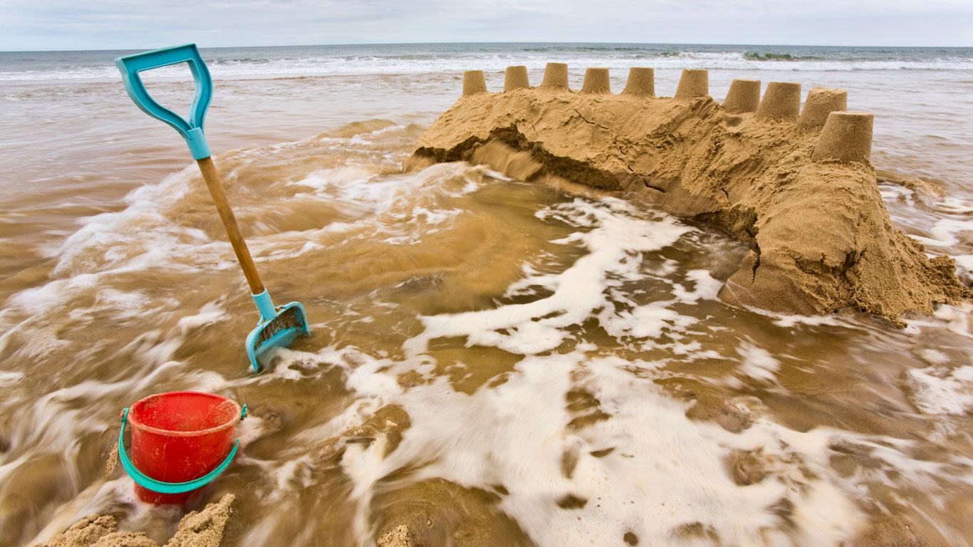 Sandburg überflutet