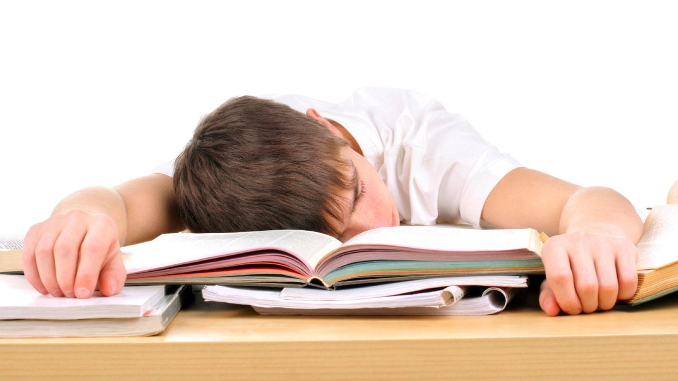 Junge schläft über Büchern ein
