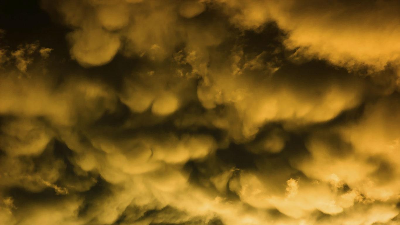 Gelbe Wolken deuten auf Hagel hin