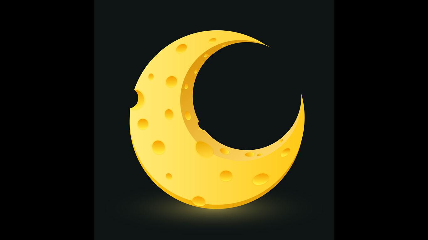 Käse auf dem Mond
