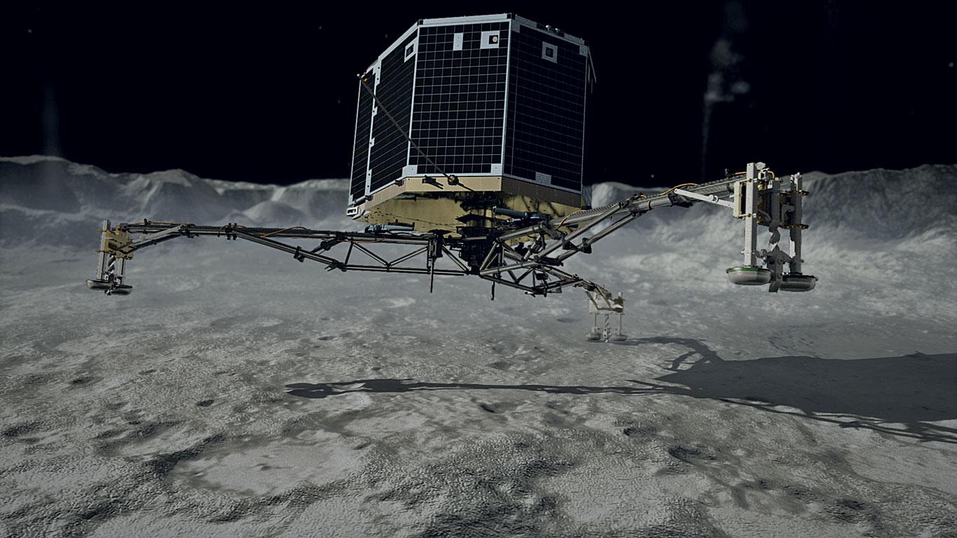 Philae setzt auf dem Kometen auf