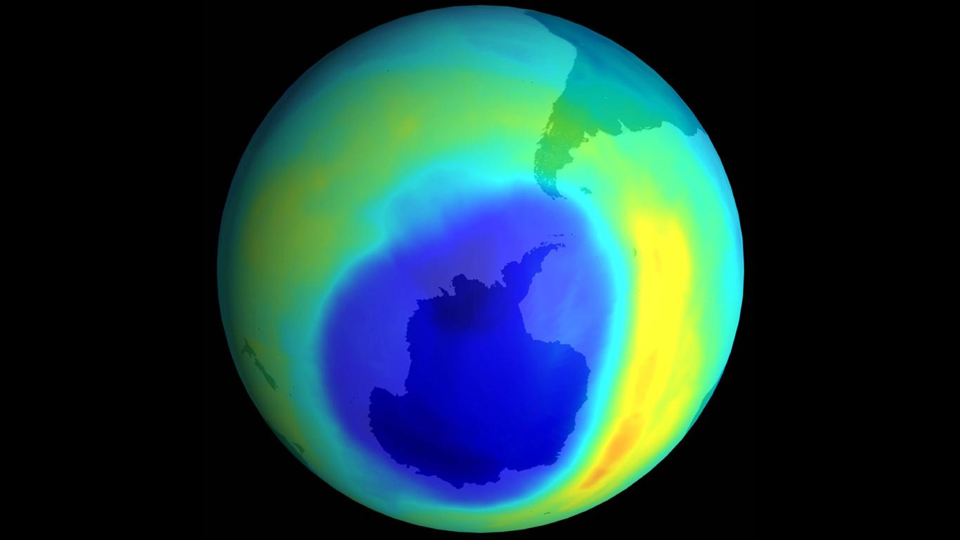 Das Ozonloch über dem Atlantik