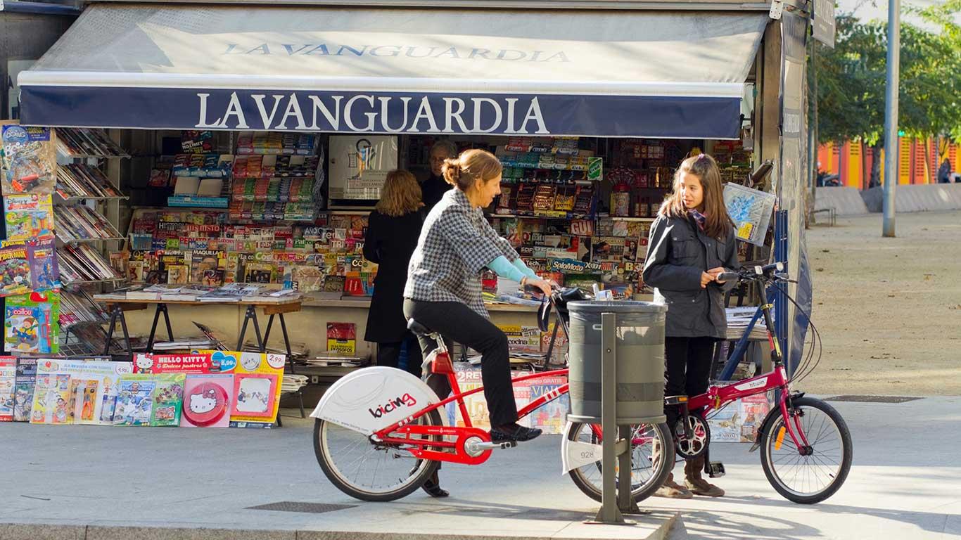 Biken auf den Ramblas: Barcelona