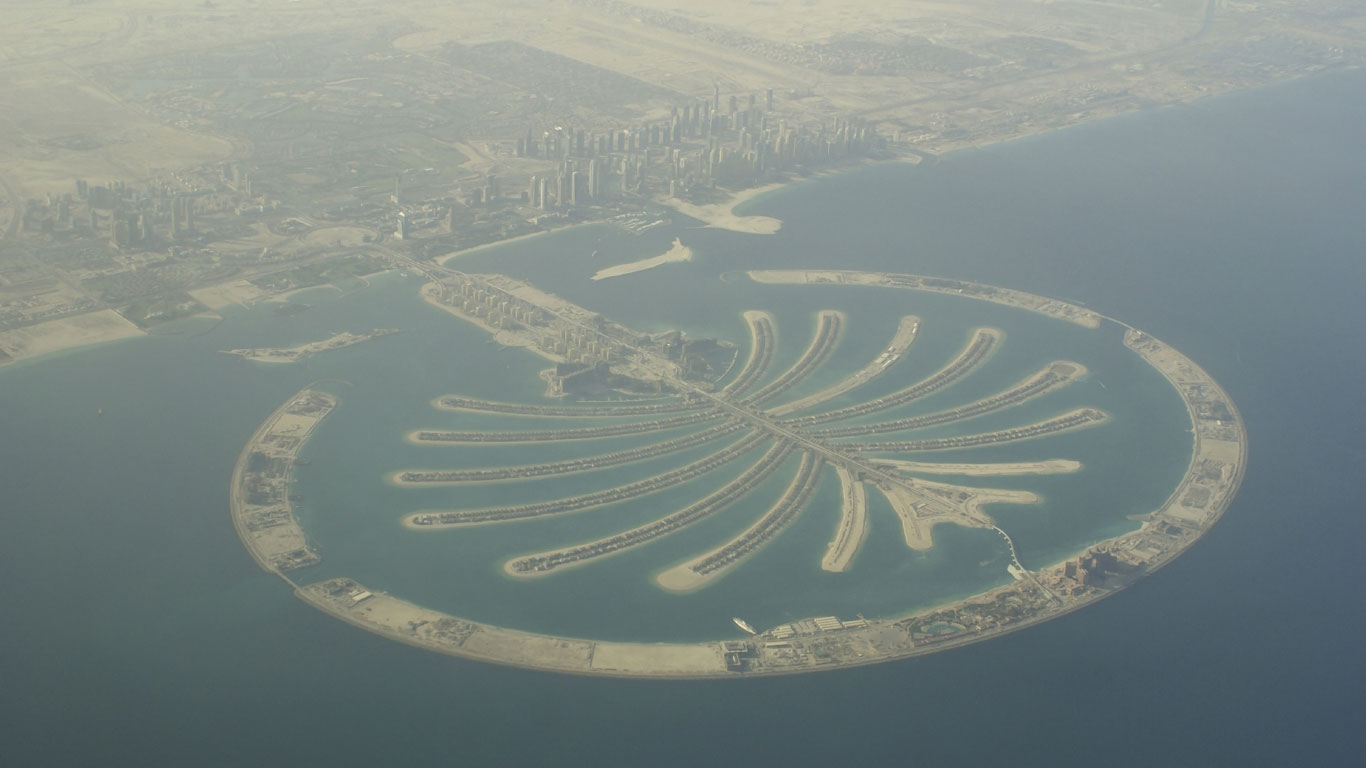 Künstliche Palmeninsel am Persischen Golf