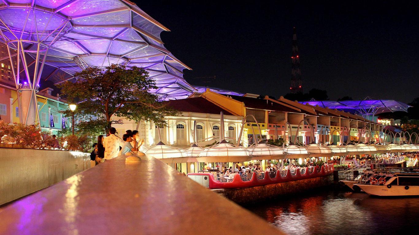 Auf einen Drink an den Singapore River