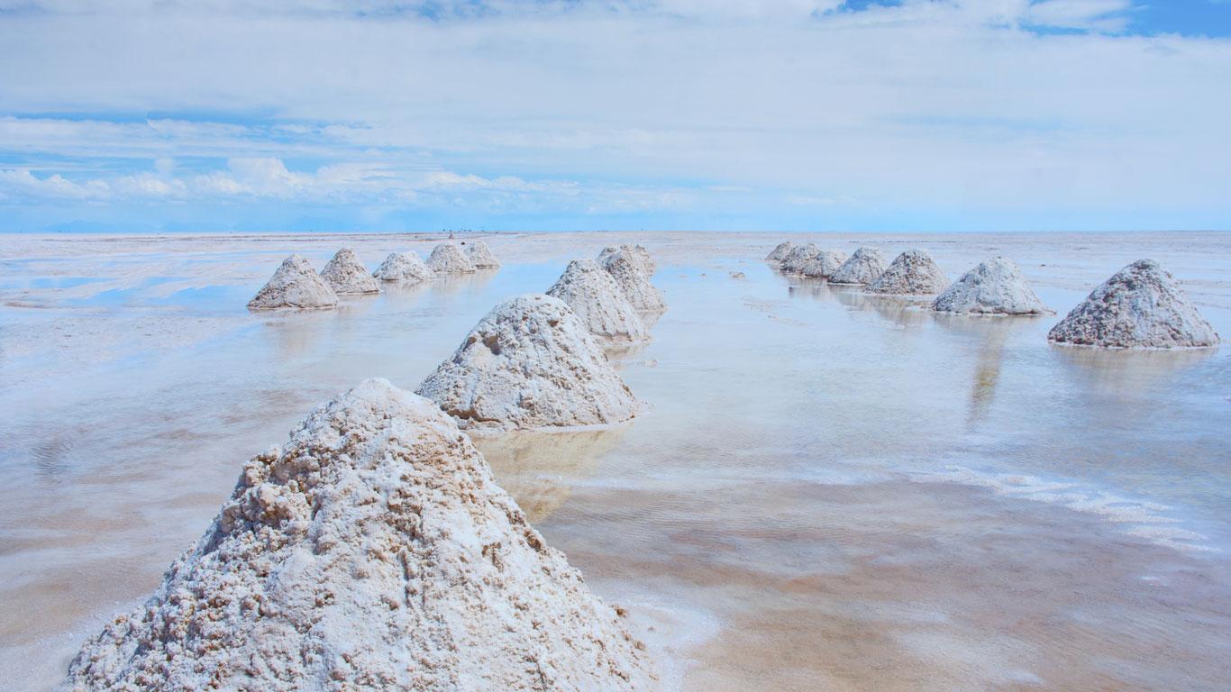 Salzhügel - bereit für die Ernte