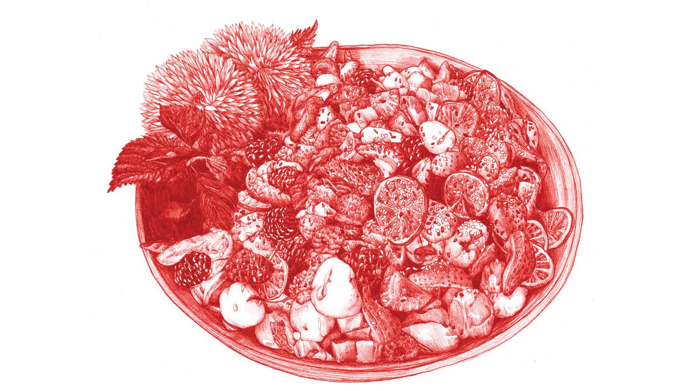 Fusion von Fleisch und Obst